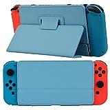 kandouren PU Leder Schutzhülle für Nintendo Switch 2017Spiel consle- schwarz Schutzhülle Harte Travel Carry Shell Tasche für Nintendo Schalter Konsole und Zubehör blau Holder Blue