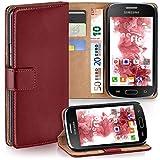 moex Samsung Galaxy S Duos 2 | Hülle Dunkel-Rot mit Karten-Fach 360° Book Klapp-Hülle Handytasche Kunst-Leder Handyhülle für Samsung Galaxy S Duos/S Duos 2 Case Flip Cover Schutzhülle Tasche