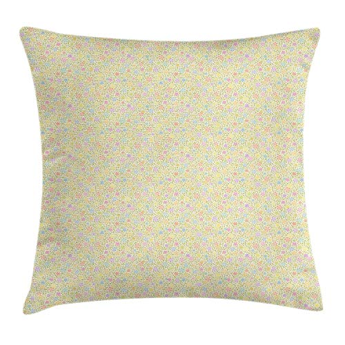 BBABYY Pastel Throw Pillow Cushion Cover, Spring Love Themed Continuous Pattern with Ditsy Flowers and Little Leaves, Decorative Square Accent Pillow Case,Cream and Multicolor 18x18inch
