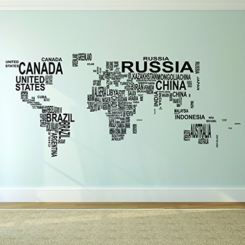 Pulse Vinyl Vinyl Wand Kunst Aufkleber - Land Namen in Weltkarte - Outline 58,4 x 132,1 cm - Indoor Outdoor Educational Vorschule Kindergarten Elementary High School Klassenzimmer Art Wand Welt Atlas - Land Indoor-wand