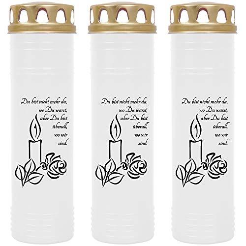 HScandle Grabkerze - 3er Pack - (Weiß) ca. 7 Tage Brenndauer je Kerze - Motiv: Kerze