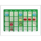 Arzneikassette, Grün 7-Tage, 1 Woche - Tablettenbox Pillenbox Pillendose
