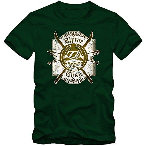 Ski Skull T-Shirt | Wintersport | Snowboarden |Schnee | Alpine Thug | Ski | Herrenshirt, Farbe:Dunkelgrün (Bottle Green L190);Größe:L (Schnee-tage-shirt)