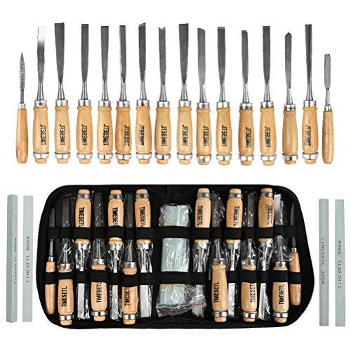 TIMESETL 12 scalpelli per Legno + 2 Lime + 4 Pezzi di Olio di Pietra, Coltello per intagliare Il Legno, Legno Fai da Te Fai da Te scalpello Professionale Intaglio Lavorazione del Legno