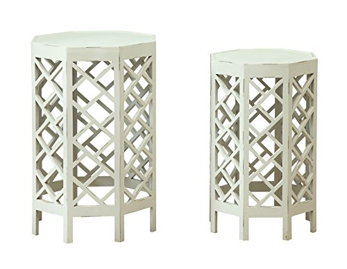 Schatzkammer Akzente 17532Satztische Nesting Tables, weiß, 2Stück Reiben
