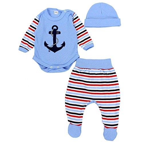 TupTam Baby Jungen Bekleidungsset mit Aufdruck 3er Set Anker, Farbe: Blau, Größe: 56