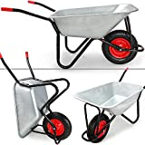 Wheelbarrow 100l Galvanized Wheel Barrow 200kg Capacity Garden Trolley Transport Cart with Metal Rim