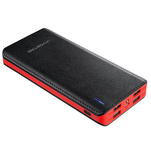 Tragbares Ladegerät 20000mAh, VivoStar Power Bank High Capacity Externer Akku Pack Schnellste Charge 4 USB 2.1A Ausgang Mit LED Taschenlampe für iPhone, iPad, Samsung, Nexus, HTC und Mor