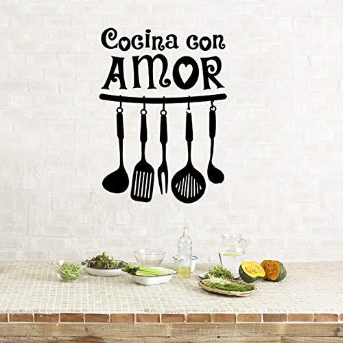 Pbldb Disfrute Del Tiempo De Cocción En Casa Decoración De La Pared Pegatinas De Cocina Utensilios De Cocina Extraíble Arte Vinilo Mural 42X57Cm