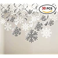 HOWAF Snowflake Hanging Swirl Decorations(30pack), Snowflake Silver & White Ceiling Swirls Dangling Christmas Decorations Ornaments for Xmas Frozen New Year Holiday Party Decoration Supplies