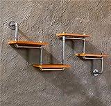 Weinlese-Festes Holz-Wand-Regal-Metalleisen-Rohr-Regale Wand-hängendes Dachboden-an der Wand befestigtes Schindel-Bücherregal-Lagerregal-Sich Hin- und herbewegende Einheits-Rahmen 4 Reihen Haltbar
