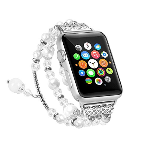 WETERS Apple Strap Damenmode Silber Metall Weiß Perlen -