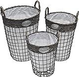 Conjunto de 3 cestos con asas - Práctico Decorativo - Color TOPO y BLANCO roto