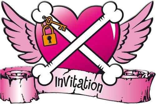8 Einladungskarten im Pirate Girl Design