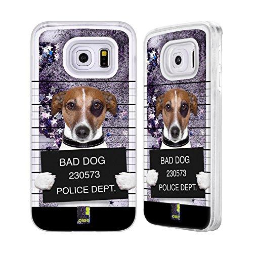 Head Case Designs Cucciolo Che Ascolta La Musica Animali Divertenti Custodia Cover con Glitter Liquidi Porpora per Apple iPhone 5c Cane Cattivo Mugshot
