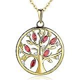 YH Halskette Baum Des Lebens,kette anhaenger silber 925 baum des lebens Anhänger Halskette,Damen Schmuck,kette: 45-50CM (vergoldet,Granat)