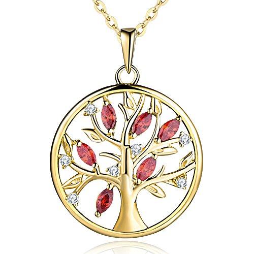 JO WISDOM Halskette Baum Des Lebens,kette anhaenger silber 925 baum des lebens Anhänger Halskette,Damen Schmuck,kette: 45-50CM (vergoldet,Granat)