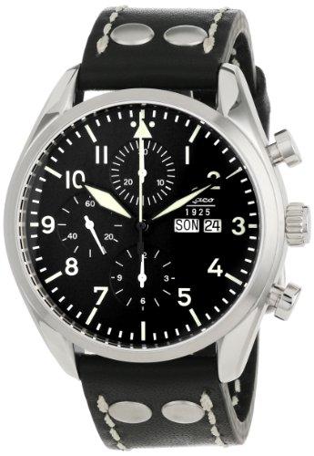 Laco 1925Herren Automatik Uhr mit schwarzem Zifferblatt Analog-Anzeige und schwarz Lederband 861715