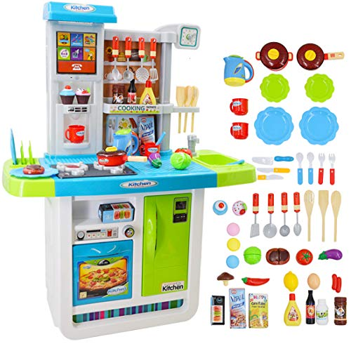 deAO My Little Chef Kitchen Playset Role Playing Game with Touchscreen Panel, Water Features and 50 Accessories Included (Blue)