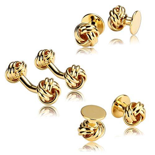Adisaer 6 PCS Herren Manschettenknöpfe Edelstahl Knoten Gold Hemd Manschetten Knöpfe Manschettenknöpfe und Studs (Jährige Für Kostüm 8 Elefanten)