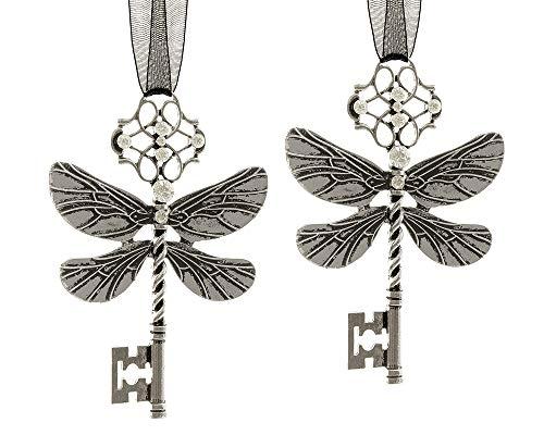 zeitzone Christbaumschmuck Schlüssel Feendrachen Libelle Silber 2 Stück Christbaumanhänger
