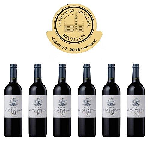 CHATEAU LA TOUR CORDOUAN - Vin Rouge AOP Medoc Bordeaux - 2015-6 bottles Pack - Gold Medal in Brussels 2018