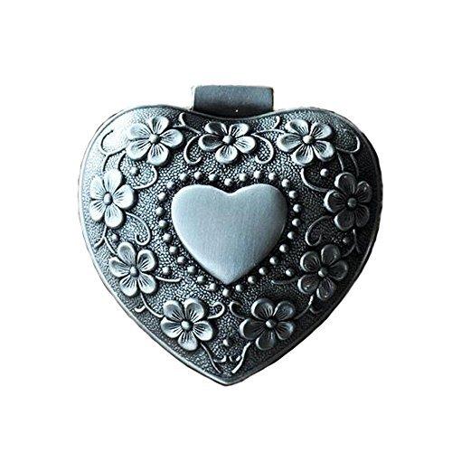 Belons Herz Schmuckkästchen Schmuckschatulle Zinklegierung Schmuckdose Schmuckbox Ring Kette Ohrringe Herzdose für Damen Mädchen, Antike Silber
