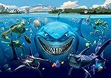 Tapeto Fototapete - Disney Nemo - Vlies 254 x 184 cm (Breite x Höhe) - Wandbild Haifische Schildkröten Fische