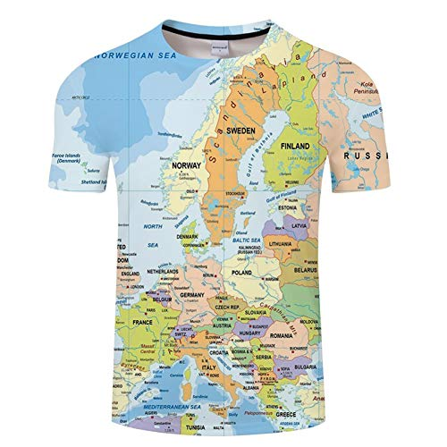 NSDX Herren 3D T-Shirt Weltkarte T-Shirt Druck 3D T-Shirt Harajuku Outfit Tees Top Sommer Stil Lustige Grafik T-Shirt Asiatische Größe 6XL (Für Männer Outfits Lustige)