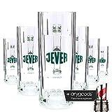 6 x Jever 0,3l Glas / Gläser, Seidel, Markenglas, Bierglas + Flaschenausgiesser