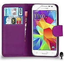 Premium Leather PURPLE Wallet Flip Case FOR Samsung Galaxy Core Prime Case Cover Screen Protector & Polishing Cloth Black Cap, (WALLET PURPLE)