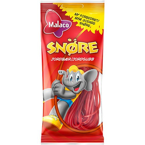 2 x 94g von Malaco Snore Jordgubb - Original Schwedisch Erdbeere Biegt Weingummi Süßigkeiten