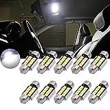 TUINCYN - Bombilla LED blanca 1,25 pulgadas (31 mm), CAN bus sin errores, SMD 8 2835 DE3175 DE3021 DE3022 6428 7065, para el interior del coche, puertas, techo, 12 V (10 unidades)