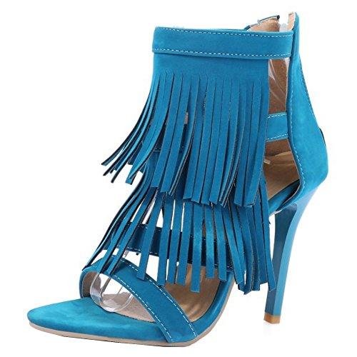TAOFFEN Damen Mode Open Toe Fesselriemen Sandalen Retro Quasten Schuhe with Reißverschluss Blau
