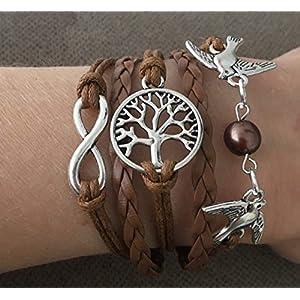Lebensbaum Lederarmband Unendlichkeit braun silber mehrreihiges Armband Perle Vögel Infinity Zeichen geflochten handmade Baum Tauben