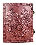 Kooly Zen - Carnet, bloc notes, journal, livre, Cuir Véritable, Vintage, Fermoir Métal, double dragon, 15cm X 20cm, papier premium