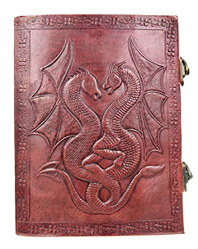 kooly Zen–Cuaderno, bloc de notas, diario, libro, piel auténtica, Vintage, cierre metal, Double Dragon, 15cm x 20cm, papel Premium