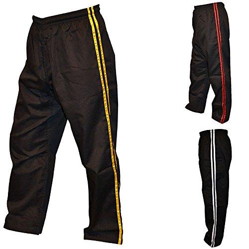 TurnerMAX Karate Hosen Erwachsenen Kampfsporthose, Polycotton (Schwarz mit gelben Streifen, 200 cm)