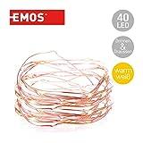 Emos LED Lichterkette Typ Nano Kupferdraht 4m, 40 LEDs, 230V mit Stecker, mit Timer-Funktion, geeignet für Innen & Aussen, Wasserdicht IP44, Farbe: warmweiß