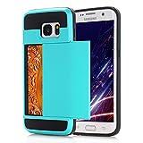 Samsung Galaxy S6 Edge Hülle, Galaxy S6 Edge Schutzhülle,Alfort Lederhülle Zurück Schieberegler Karte Wallet PU Leder Tasche Case Cover für Galaxy S6 Edge Smartphone (Hellblau)