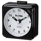 Hama Reise Wecker (selbstleuchtender Minuten- und Stundenzeiger, Hintergrundlicht, Snooze-Funktion, Speed-Alarm) schwarz