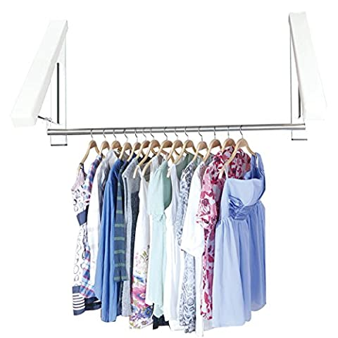 MKQPOWER 2 Pcs Durable Hanger +2 Stainless Steel Tube Folding Wall Hanger Mount Clothes Foldable Hangers for Balcony,A full Range of Dry Clothes for Winter,Rainy Day,Indoors