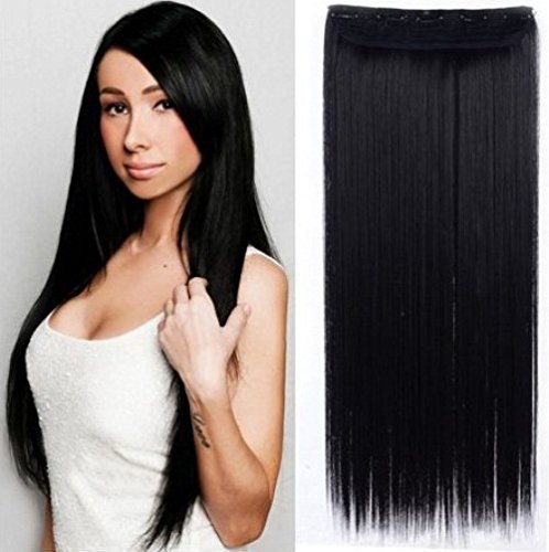 FOK 5 Clip based Synthetic Hair Extension Black Color-25 inches