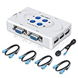 ELUTENG KVM Switch VGA USB KVM Switch Box con 4 Cavi VGA e 1 Conveniente Controller Desktop Switch per PC Monitor/Tastiera/Mouse & di più