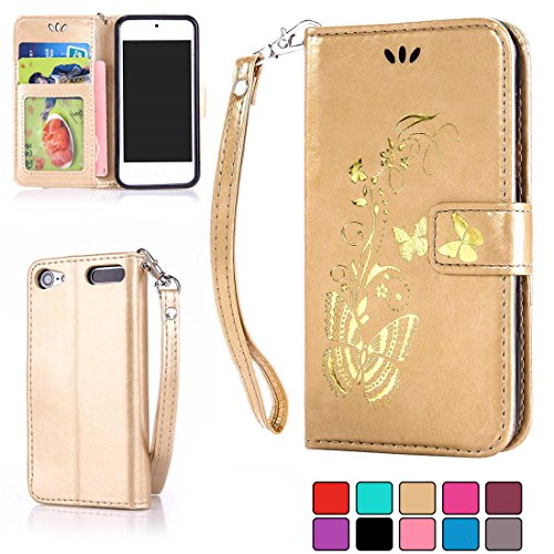 ifeeker-ipod-touch-5th-6th-wallet-pu-leather-case-with-free-tempered-glass-screen-protectorgolden-vi