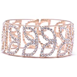 Lady Touch American Diamond Gold Stylish Adjustable Bracelet For Girls & Women_Free Size