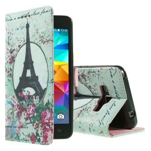 jbTec® Flip Case Handy-Hülle zu Samsung Galaxy Grand Prime / SM-G530 / SM-G531 - BOOK MOTIV #02 - Handy-Tasche, Schutz-Hülle, Cover, Handyhülle, Ständer, Bookstyle, Booklet, Motiv / Muster:Eiffelturm & Blumen P17 (Tasche Paris)