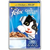 Felix As Good As It Looks Wet Cat Food Chicken in Jelly Pouch, 20 x 100 g