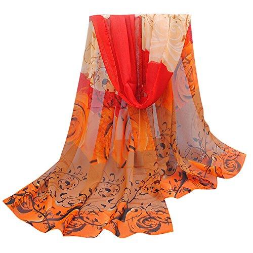 OVERDOSE Frauen Elegant schöne Rose Muster Damen Chiffon Schal Wraps Schals Halstuch Tücher Schlauchschal,A-Orange