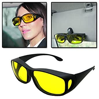 AMOS HD Vision Wrap Around Fit Over Prescription Glasses Driving Sunglasses Fishing Hiking Unisex Sun Glasses Shades 100% UV Protection + Car Visor Storage Clip